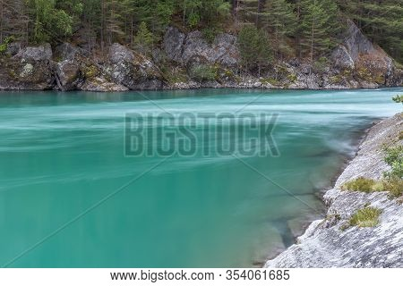 Amazing Mountain River In Norway. Landscape. Turquoise River. Fast Flow Mountain River In Norway
