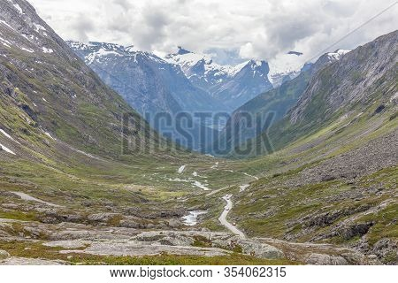 Norway, Beautiful View Of Mountain With Cloudy Sky And Green Valley, Norway Mountain Landscape, Sele