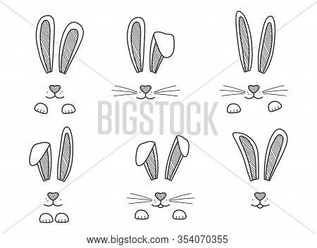 Easter Bunnies Hand Drawn, Face Of Rabbits. Black And White Ears And Muzzle With Whiskers, Paws. Ele