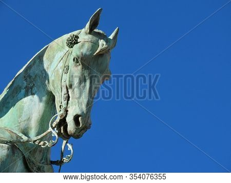Head Of Wexy, The Favourite Horse Of King Guillaume Ii. Detail Of Green Bronze Equestrian Statue In
