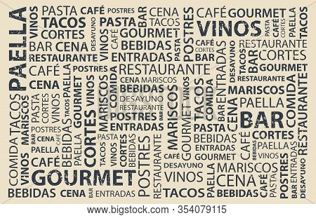 Food Words Map In Spanish, Latin Flavor