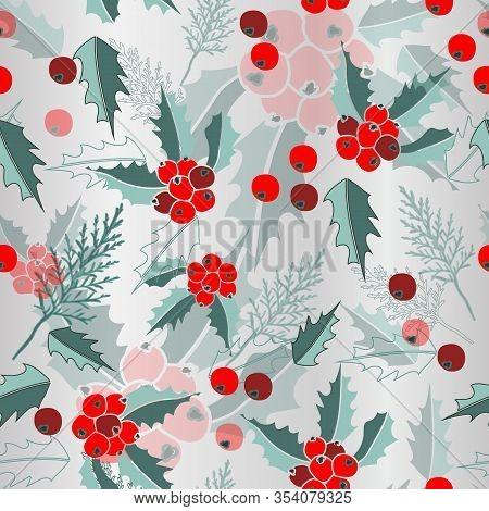 Mist Mistletoe-marry Christmas, Seamless Repeat Pattern. Multi Layer Design Of Cypress Leaves, Mistl