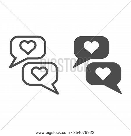 Romantic Chat Line And Solid Icon. Reciprocity Dialogue And Like Or Compliment Symbol, Outline Style