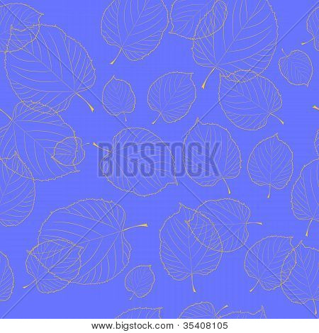 Seamless pattern of autumn leaves on the  blue background