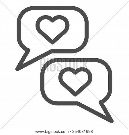 Romantic Chat Line Icon. Reciprocity Dialogue And Like Or Compliment Symbol, Outline Style Pictogram