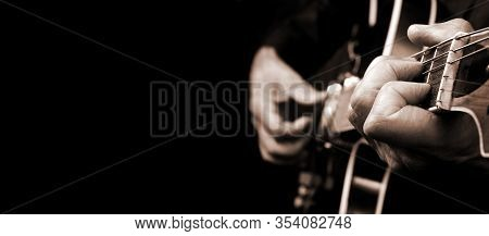 Guitarist Hands And Guitar Close Up. Playing Electric Guitar Black And White. Copy Space