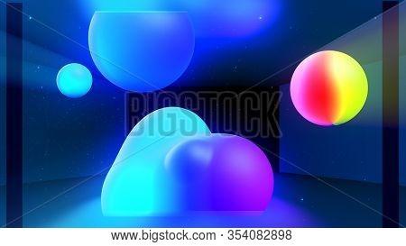 Spheres Or Balls In Room Merge Like Liquid Wax Drops Or Metaballs In-air. Liquid Gradient Of Rainbow