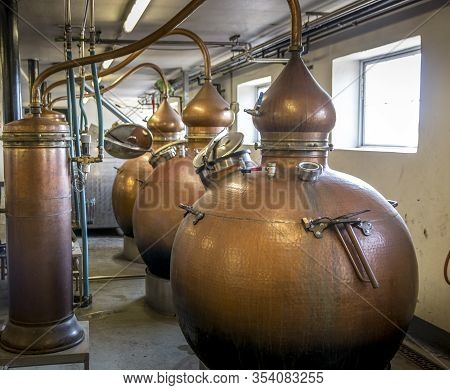 Skjern, Denmark - 07 Juli 2018: Whiskey Distillery, Making Whiskey Has Become Very Popular And Many