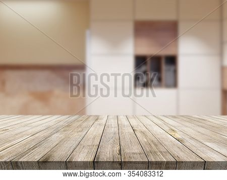 Wooden Tablet On Classic Modern Interior Background