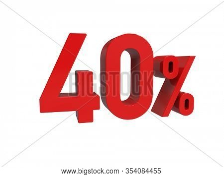 3d Render: ISOLATED Red 40% Percent Discount 3d Sign on Light Background, Special Offer 40% Discount Tag, Sale Up to 40 Percent Off, Forty Percent Letters Sale Symbol, Special Offer Label