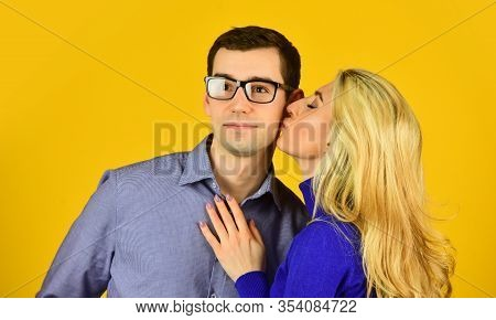 Couple In Love. Man And Woman Embrace. Smart Looking Guy Wear Glasses. Sexy Bonde Girl Kiss And Hug