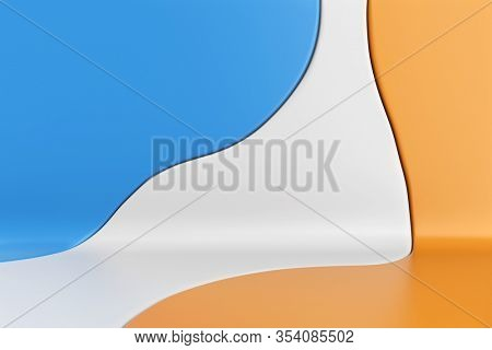 Blue, White and Yellow Curved Abstract Liquid Design Background. Color Spots Backdrop. 3D Illustration.