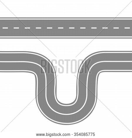 Straight And Winding Road For Cars. Asphalt Roads With Markings. Highway Or Highway Background. Vect