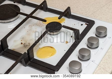 Dirty Stove. Grease And Soot On The Hob