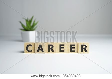 Career Adviser Assembling The Word Career With Wooden Cubes In A Conceptual Image Of Personal Guidan