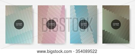 Zig Zag Lines Halftone Banner Templates Set, Vector Backgrounds For   Magazines. Minimal Zig Zag Gra