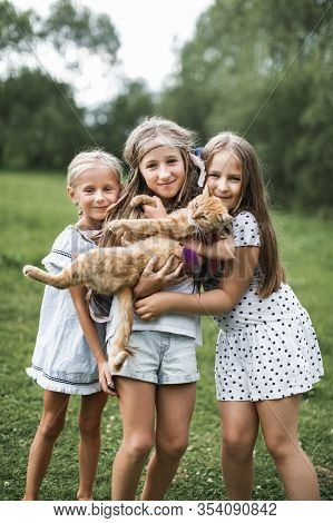 Three Little Girls Sisters Playing And Petting Red Cat. Domestic Animal In Family With Kids. Childre