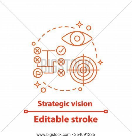 Strategic Vision Concept Icon. Business Strategy Idea Thin Line Illustration. Goal Achieving. Strate