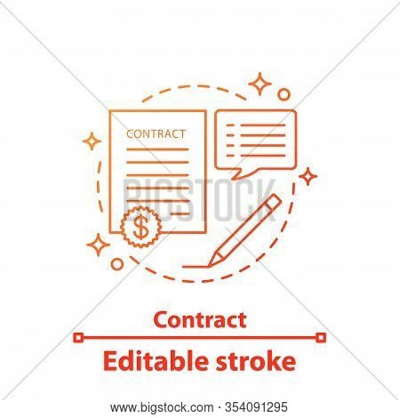 Contract Concept Icon. Business Agreement. Document Idea Thin Line Illustration. Business Deal. Vect