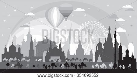 Moscow Skyline Travel Illustration With Architectural Landmarks At Sunrise. Worldwide Traveling Conc
