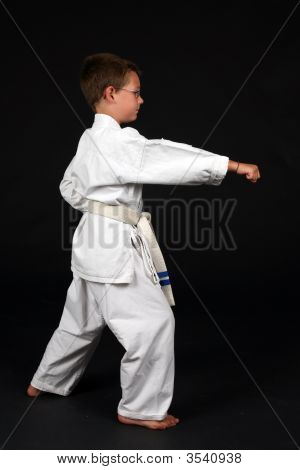 Boy Demonstrating Right Stance In Karate