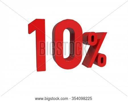 3d Render: ISOLATED Red 10% Percent Discount 3d Sign on White Background, Special Offer 10% Discount Tag, Sale Up to 10 Percent Off, Ten Percent Letters Sale Symbol, Special Offer Label