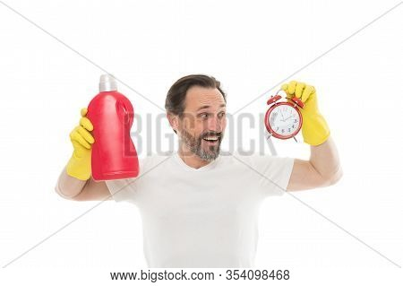 Laundry And Clean. Mature Bearded Man Use Detergent Cleaner And Clock. Cleaning Time. Perfectionist