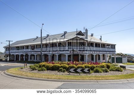 Orbost, Australia - December 20, 2019: View Of The Commonwealth Hotel, A Unique Country Style Pub Bu