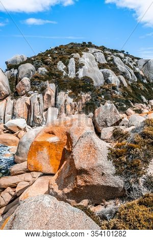 Enormous Orange Boulders At Tongue Point Trek In Wilsons Prom National Park, Australia