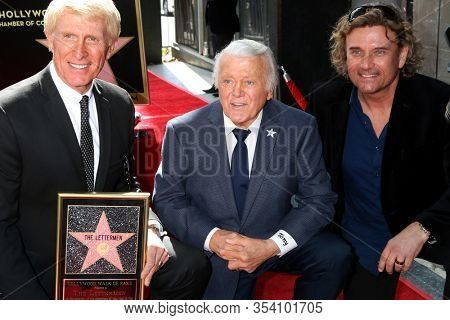 LOS ANGELES - FEB 24:  Donavan Tea, Tony Butala, Darren Dowler at the The Lettermen Star Ceremony on the Hollywood Walk of Fame on February 24, 2019 in Los Angeles, CA