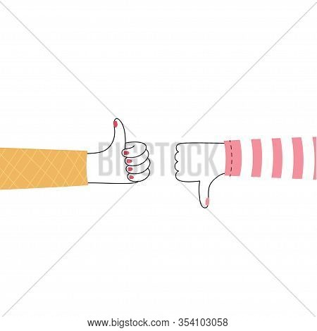 Vector Isolated Illustration Of Hands With Thumb Up And Down, Like And Dislike. Feedback And Custome