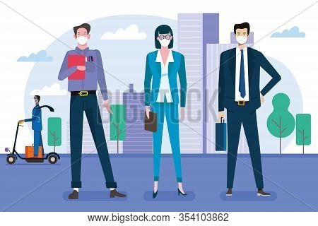 Businessmen And Businesswomen In Front Of Their Offices Wearing Protective Masks. Vector Illustratio
