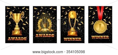 Set Of Gold Laurel Wreath Award, Championship Winner Trophy, Gold Medal Award. Realistic Vector Awar