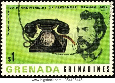 Moscow, Russia - March 04, 2020: Stamp Printed In Grenada, Shows Alexander Graham Bell (1847-1922),