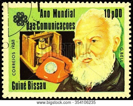 Moscow, Russia - February 26, 2020: Stamp Printed In Guinea-bissau, Shows Alexander Graham Bell (184