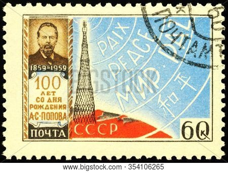 Moscow, Russia - March 04, 2020: Stamp Printed In Ussr (russia), Shows Alexander Stepanovich Popov (