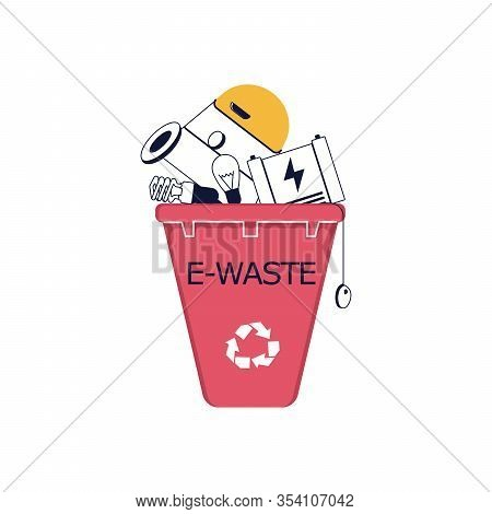 Electronic Waste In Recycling Bin. Discarded Electrical And Electronic Devices. E-waste Concept. Fla