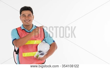 Asian Men Aged 30-40 Years Old Standing Proudly Smiling For His Work That Has Been Successful, He Is