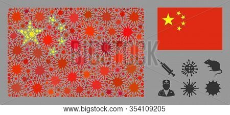 Coronavirus Mosaic And Flat China Flag. Mosaic Vector Is Designed With China Flag Pictogram And With