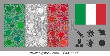 Coronavirus Mosaic And Flat Italy Flag. Mosaic Vector Is Composed With Italy Flag Icon And With Rand