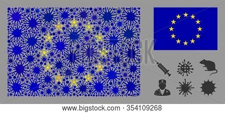 Coronavirus Mosaic And Flat Europe Flag. Mosaic Vector Is Designed With Europe Flag Pictogram And Wi