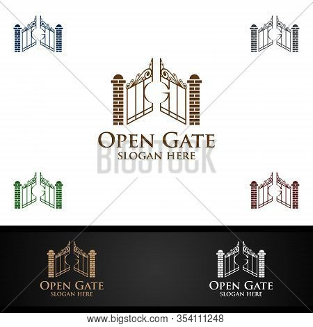 Real Estate Logo With Open Gate Property And Home Shape