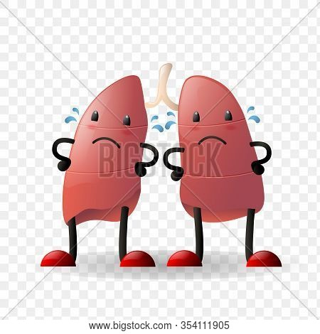 Lungs. Human Internal Organ Realistic Organ Sad Character With Face Isolated Against Transparent Bac