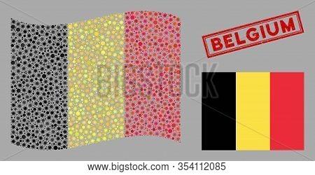 Coronavirus Mosaic Waving And Flat Belgium Flag. Mosaic Vector Is Designed With Belgium Flag Pictogr
