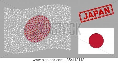 Coronavirus Mosaic Waving And Flat Japan Flag. Mosaic Vector Is Formed With Japan Flag Pictogram And