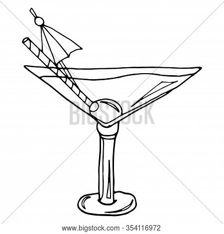 Alcoholic Cocktail Hand Drawn Sketch Vector Illustration. Vintage Cocktail Icon, Martini With Olive,