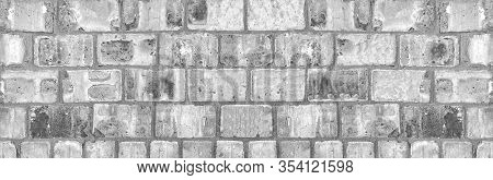 Light Gray Shabby Brick Block Wall. Wide Grunge Background