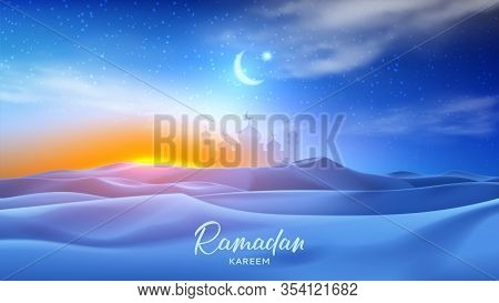 Ramadan Kareem Holiday Banner. Realistic Night Desert Landscape With Starry Sky, Crescent And Clouds