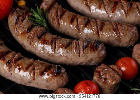 Grilled Sausages With Vegetables. Grilled Sausages Sausages With Vegetables