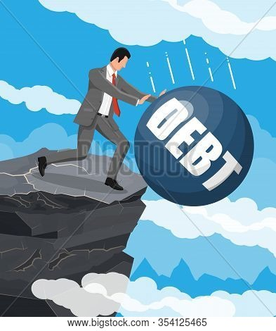 Businessman Pushing Debt Weight Out Of Mountain. Big Heavy Debt Weight Budren And Business Man In Su